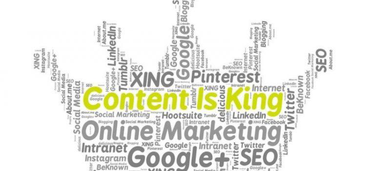 Eine Krone aus Wörtern und die wichtigsten Wörter sind Content Is King