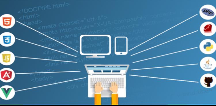 Bild mit einem Laptop auf blauem Hintergrund und Html-Codezeilen. Rechts und links sind die Symbole von Programmiersprachen.